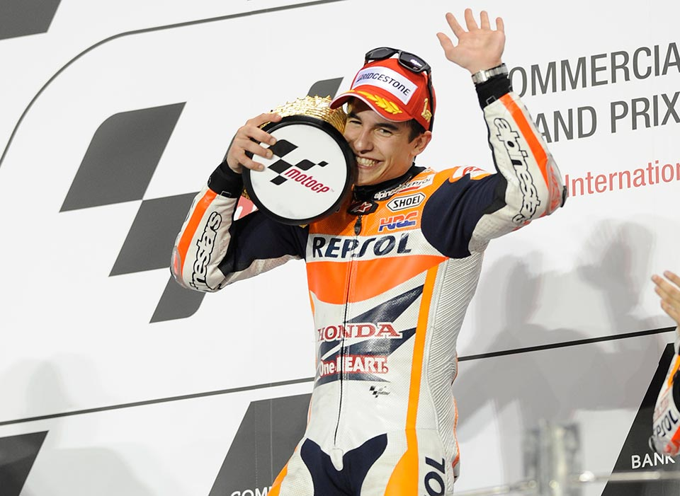 "Marc Marquez, Repsol Honda – Race Winner ""I'm very happy with the victory as I didn't expect this result. I felt better physically yesterday but I still had a question mark over how I would go in the race. I chose the hard rear tyre so I was a bit cautious at the start of the race, but then it was ok so then I decided to push. The battle with Valentino was very exciting and we swapped positions many times, last year he came out on top but this year it was my turn. I hope to have many more nice battles like that this year."""