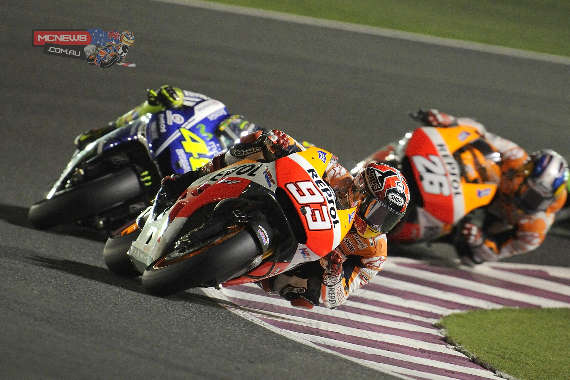Marquez leads Rossi and Pedrosa in Qatar
