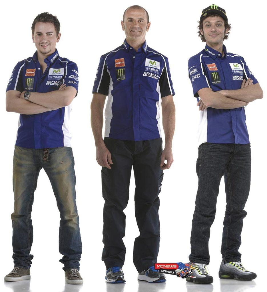 Massimo Meregalli flanked by Movistar Yamaha MotoGP riders Valentino Rossi and Jorge Lorenzo