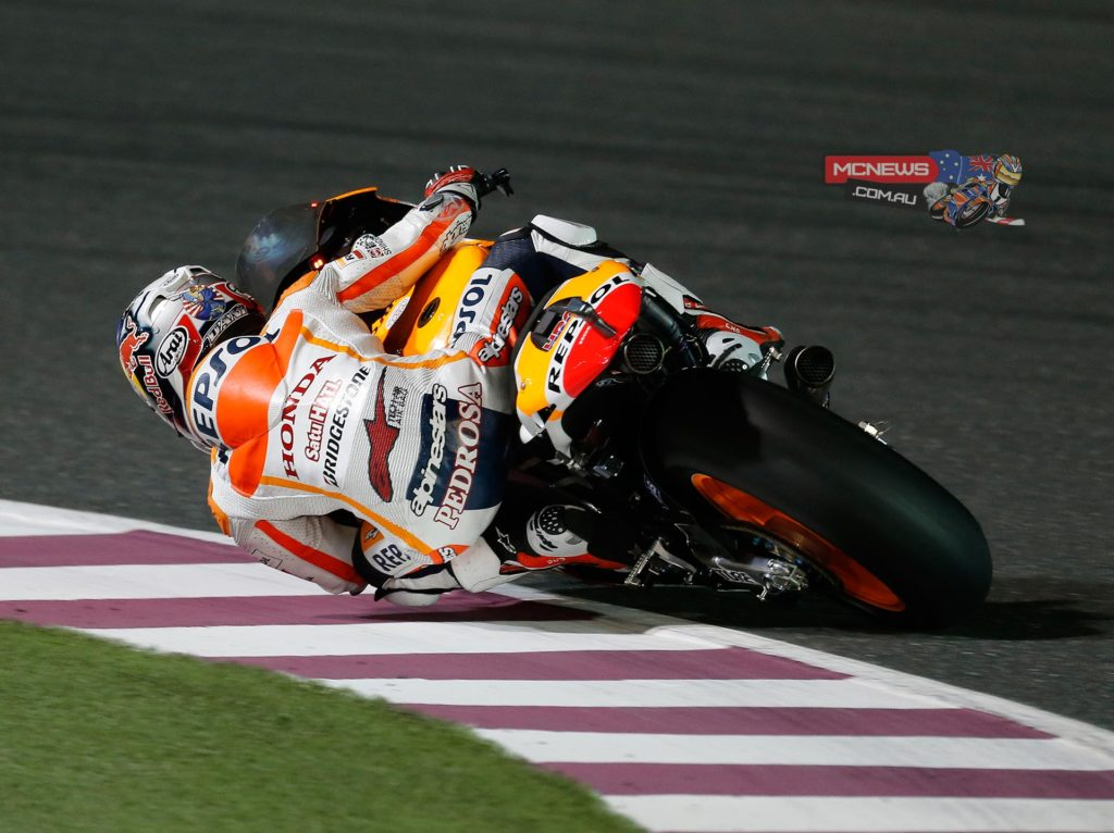 "Dani Pedrosa - 3rd - Championship Standing: 3rd - 16 points - ""Third place is a positive result. We've finished on the podium this weekend at a circuit that's difficult for me, because it isn't well suited to my style. So it's a good way to start. We were close, but with the way the race went - with so many crashes - it was important to finish. So from here on in we will try to keep improving and try to fight for the win at the next race!"""