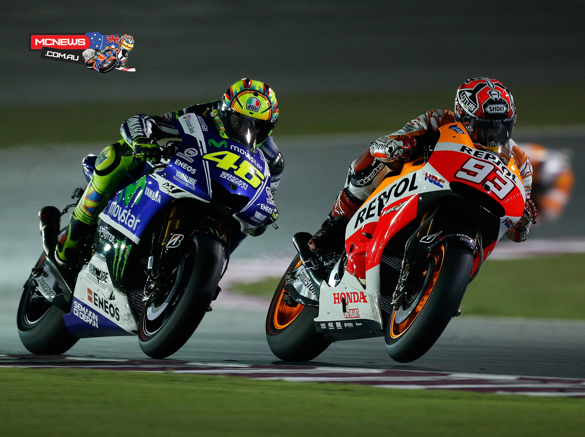 Rossi piled the pressure on Marquez and took the lead on the penultimate lap but Marquez came right back at him hard.
