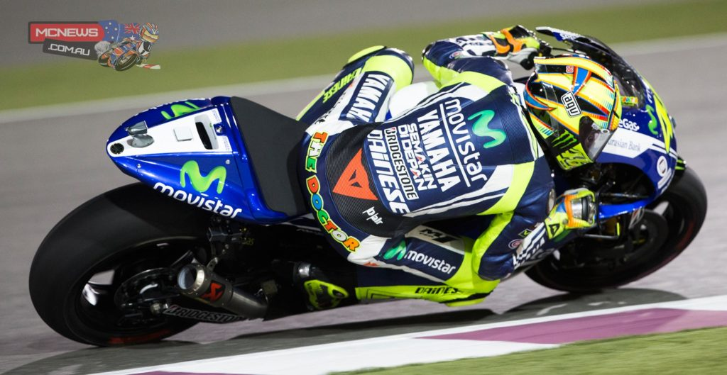 "Valentino Rossi - 2nd | +0.259 | 22 Laps - ""I'm very happy but a little bit upset because I lost. Marc is very strong and I enjoyed very much the whole race. It was a great race, very funny from the beginning, I started from behind and I had to risk in the first laps. I was very precise and didn't make any mistakes. At the end I played my card with Marc but he was stronger than me so he won and he deserved it. It's the first time it looked like an old race from MotoGP from ten years ago, all together on the same pace, some mistakes, going wide and so on. Maybe Dorna had a great idea! The Yamaha is always good in Qatar and I worked very hard in the practice for the race. I'm very happy with the work of my team and the bike was great in the race too. But anyway I am so happy for this start to the year, now we have to continue like this. Usually Jorge is so fantastic and so strong in the first laps so I don't understand what the mistake was."""