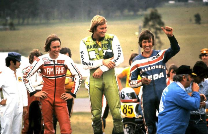 Presentations after the final of the Rothmans Pro Series at Oran Park in 1976. Gregg Hansford the winner from Warren Willing and John Woodley.