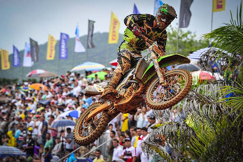 It has been a long time coming for CLS Kawasaki Monster Energy's Arnaud Tonus, but the day is finally here. Using his smooth, elegant style, the Swiss talent won MX2 race one and finished a comfortable second in race two to claim his first ever MX2 Grand Prix win, making history as the first ever Swiss rider to do so. As well as winning the MX2 Grand Prix of Brazil, Tonus has claimed the FIM MX2 World Championship red plate, and he is the first rider to do so in more than twenty-five months.