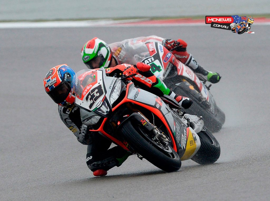 "Marco Melandri had a little more difficulty, finishing sixth in both races. The rider from Ravenna showed grit and determination in Race 2 until a ""long"" run in a turn knocked him out of the battle for a podium finish."