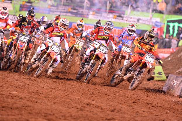 Decotis (#56) leads the field through turn 1 to earn the Nuclear Cowboyz Holeshot Award - Photo Credit: Simon Cudby