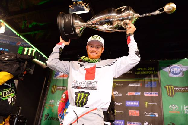 Villopoto won his fourth consecutive 450SX Class Championship at the first-ever race at MetLife Stadium - Photo Credit: Simon Cudby