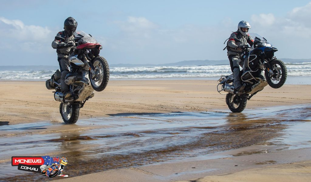 The BMW R 1200 GS and R 1200 GS Adventure side by side on the beach at Strahan.