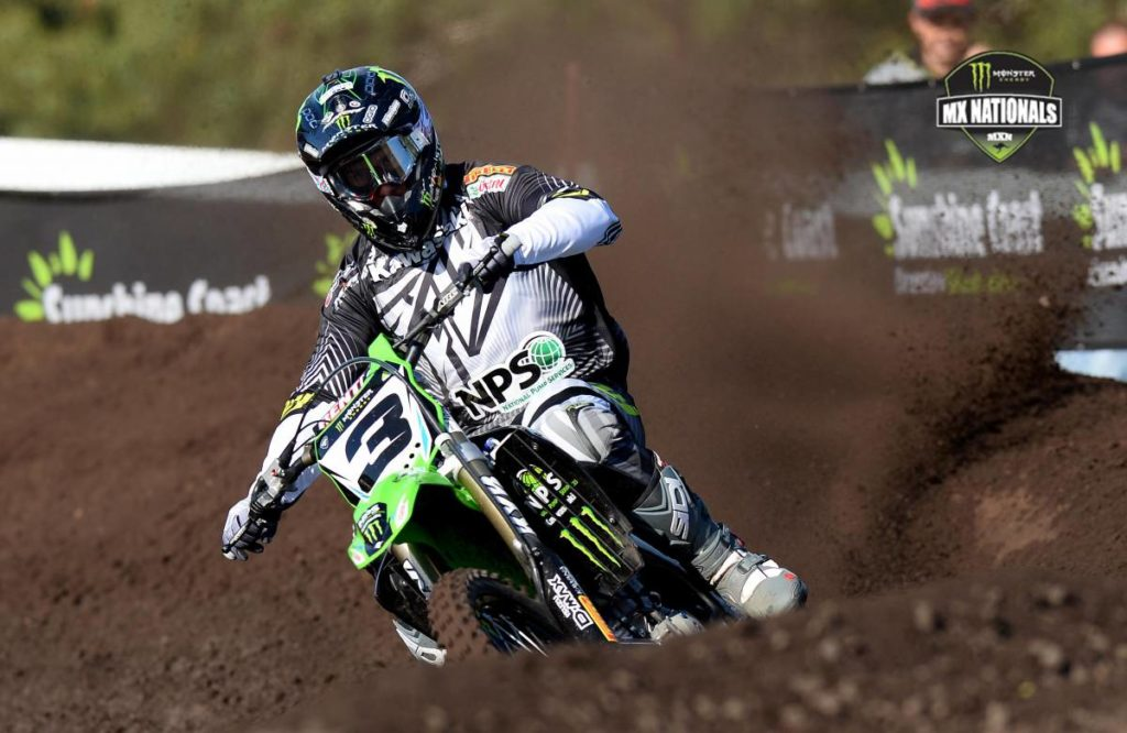 Monster Energy Kawasaki rider Adam Monea put in a consistent effort to claim overall honours in the MX1 class at round three of the 2014 Monster Energy MX Nationals.
