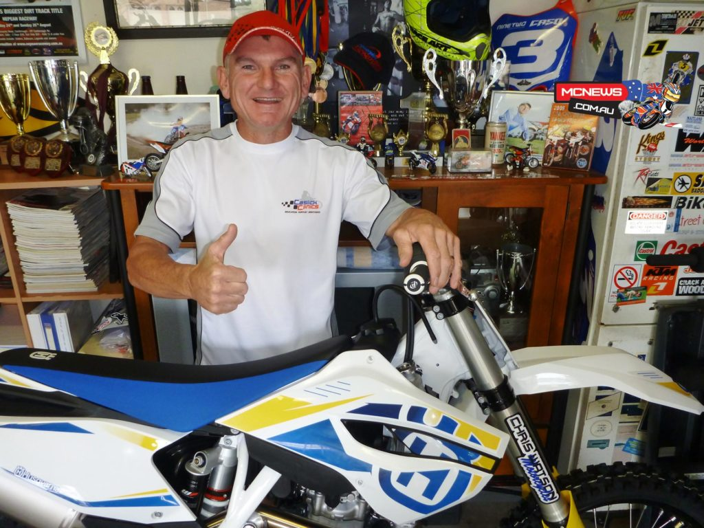 Nine time Australian champ Paul Caslick has signed with Husqvarna, backed by the dealership of his good mate - the most decorated dirt track racer Australia has ever seen, Chris Watson of Chris Watson Motorcycles, Cessnock.