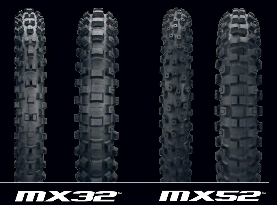 GEOMAX MX32 AND MX52 KEY FEATURES INCLUDE: • Derived from top-level AMA Supercross and Motocross racing • New tread-block-within-a-block knobs offer more progressive cornering action  • Enhanced handling and knob durability via more flex, and less knob tearing through recess-carcass design • Superior bump absorption through new damping-control sidewall rubber compound and recess-carcass design • Directional front tire design provides enhanced grip and steering feel • Superior grip in a wider variety of terrain