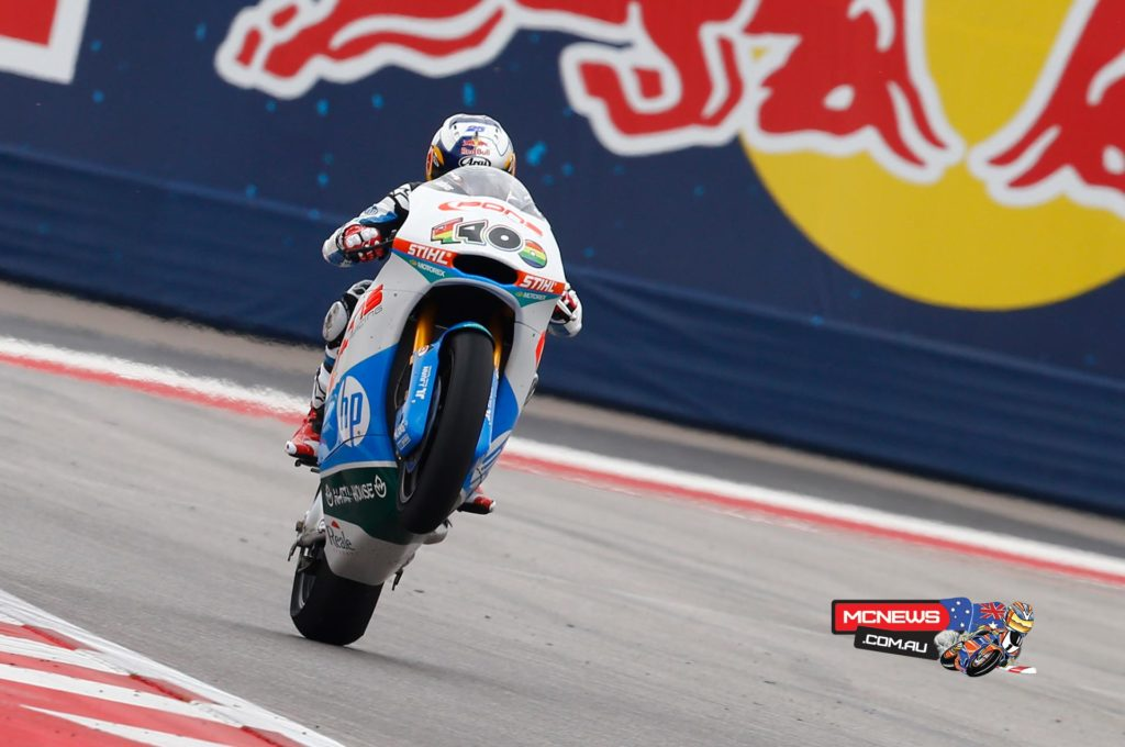 Moto3™ World Champion Viñales rode brilliantly from sixth on the grid, holding his nerve in an incident-packed 'dry race' which was slightly delayed by rain in Texas, the Spaniard eventually crossing the line four seconds ahead of Rabat.