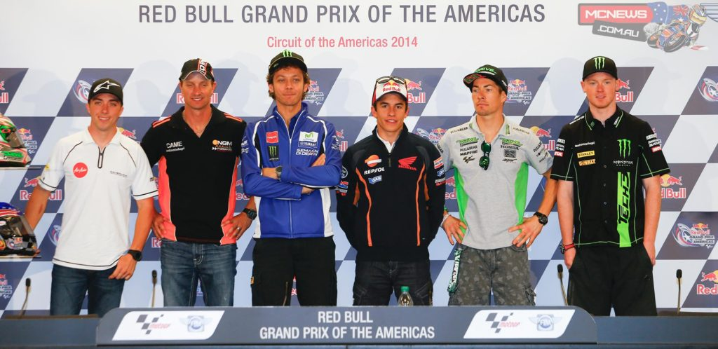 Americans Nicky Hayden, Colin Edwards and Josh Herrin were joined by European MotoGP™ trio Marc Marquez, Valentino Rossi and Bradley Smith to preview the Red Bull Grand Prix of the Americas on Thursday, with Edwards taking the opportunity to announce his retirement at the end of 2014.
