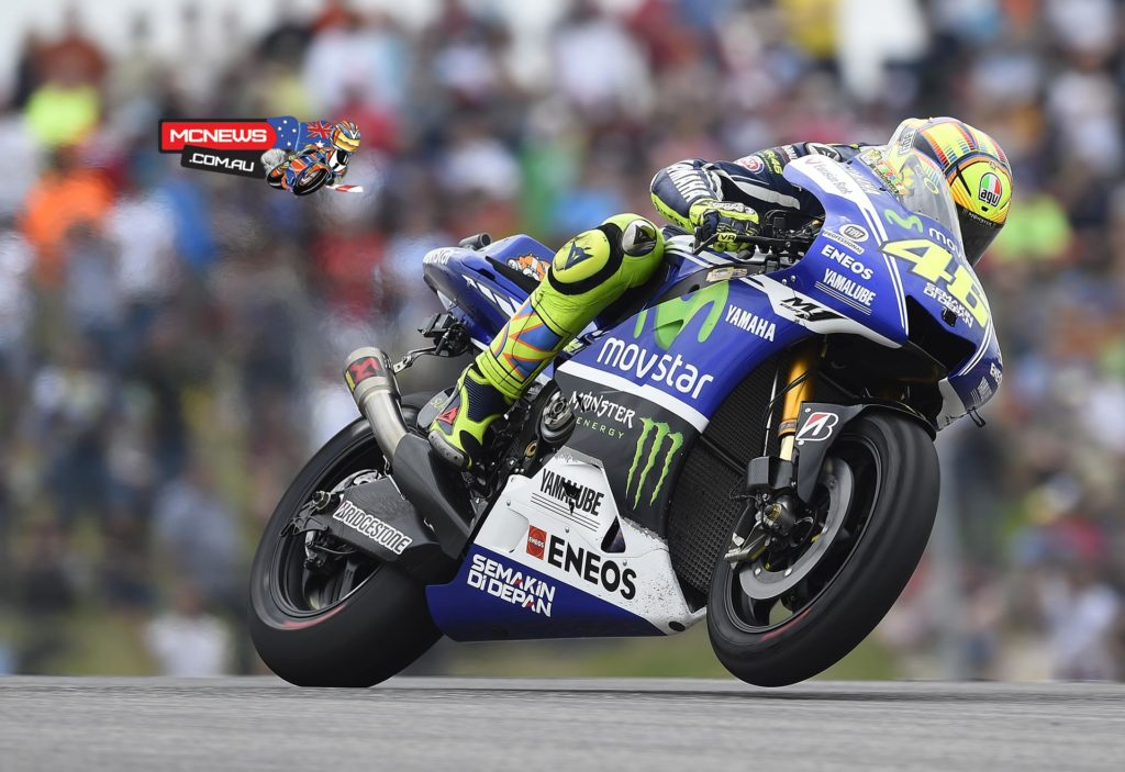 "Valentino Rossi - 8th / +45.519 / 21 laps - ""We destroyed the front tyre completely on the right side. I had the same problem during the weekend but less than this. This morning we made a good step and with a used tyre I could do all the warm up so we were quite positive. Unfortunately after seven or eight laps the front was gone and I had to go three seconds slower. It's a pity because we could do another podium which was the target here in Austin, unfortunately it wasn't to be."""