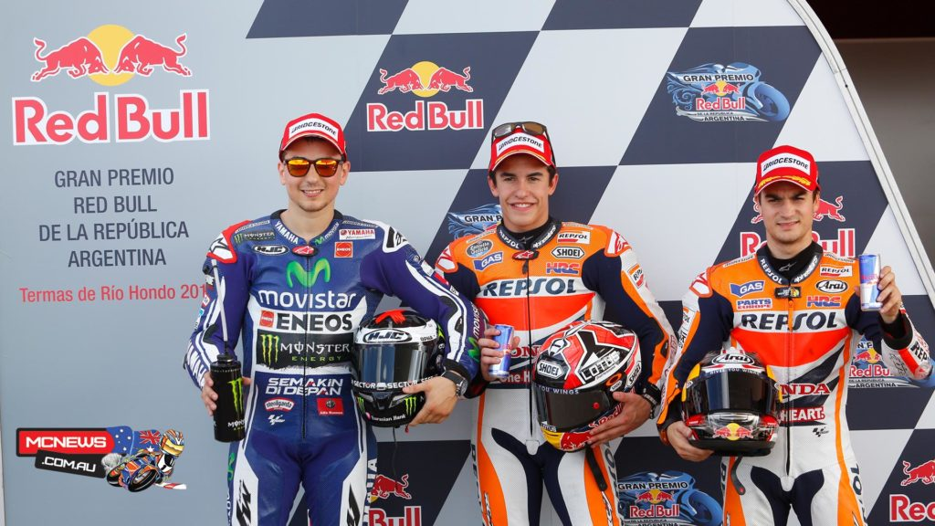 Repsol Honda's MotoGP™ World Champion Marc Marquez continued his dominance of the Gran Premio Red Bull de la Republica Argentina weekend to take pole, ahead of Jorge Lorenzo and Dani Pedrosa.