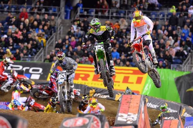 Dean Wilson (15) started the 250SX Class Main Event with the Nuclear Cowboyz Holeshot Award. Photo Credit: Simon Cudby