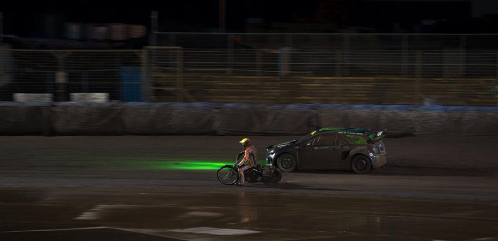 Monster Energy brought Tai Woffinden - on his 500cc Jawa speedway bike - and Liam Doran - in his 600bhp turbo charged Citroen DS3 car – to a rain lashed oval to do what they do best.