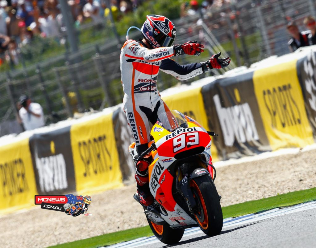 """Marc Marquez, Repsol Honda: 1st - """"I started well today, but when I saw that Valentino was trying to pass me on the first corner I knew his intention was to slow down the race so he could control the pace. Riding behind him I realised that I could go faster, so I tried to overtake him as soon as possible. I was surprised, because I wasn't expecting to open up a gap. Anyway, I am in good form at the moment, but I can see that Dani, Valentino and Jorge are giving their 100 percent in every practice and in every race. I'm sure that sooner or later will come a race in which we are unable win, but we will have to learn from that and try to take important points."""""""