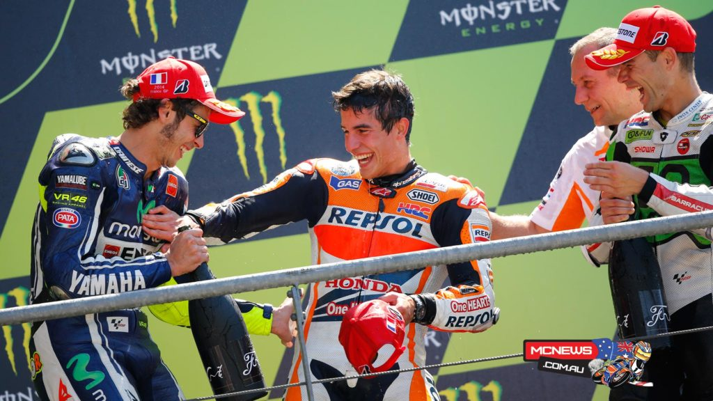 Marc Marquez (Repsol Honda RC213V) had continued his astonishing run of historic MotoGP victories with a stunning win at a sunny Le Mans in 2014. Marquez won the French Grand Prix with a comfortable margin ahead of former champion Valentino Rossi (Yamaha), despite running off the track on the first lap, which forced him to fight back from tenth place.