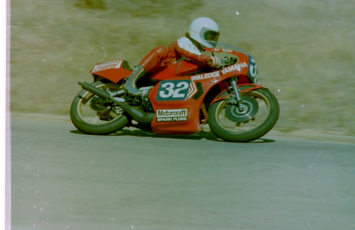 Robbie on the Milledge TZ350, Hume Weir 1977