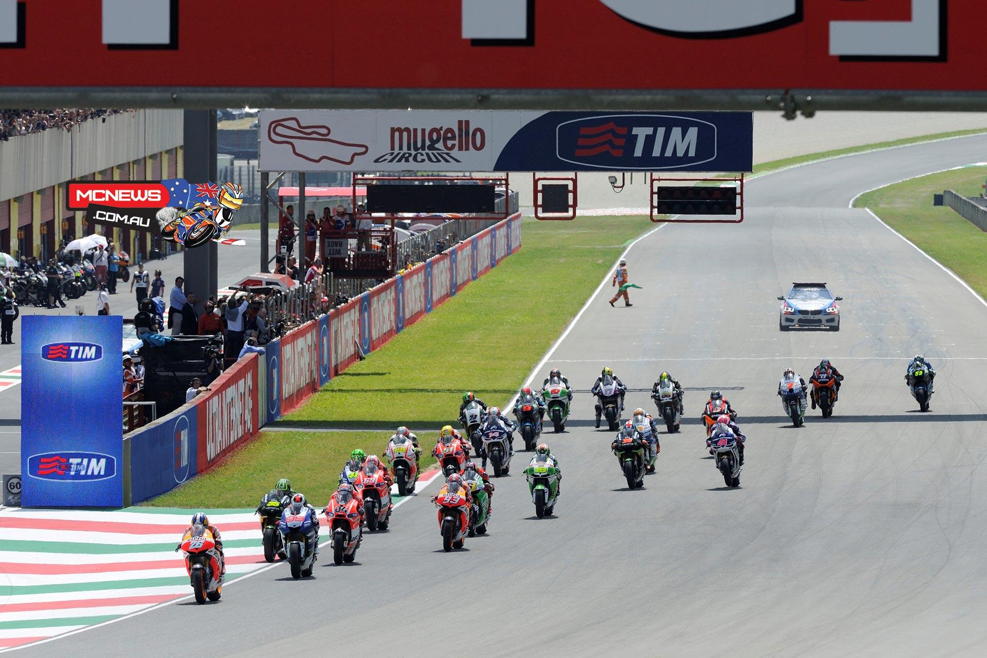 Start of the 2013 Italian Grand Prix at Mugello