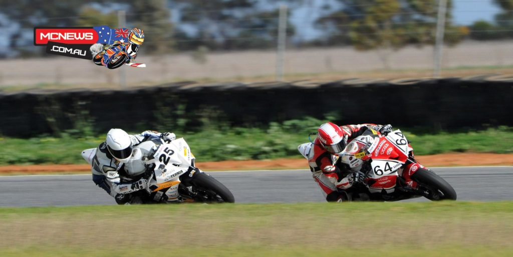 Aaron Morris leads Daniel Falzon at Mallala. Their rivalry is quite intense...