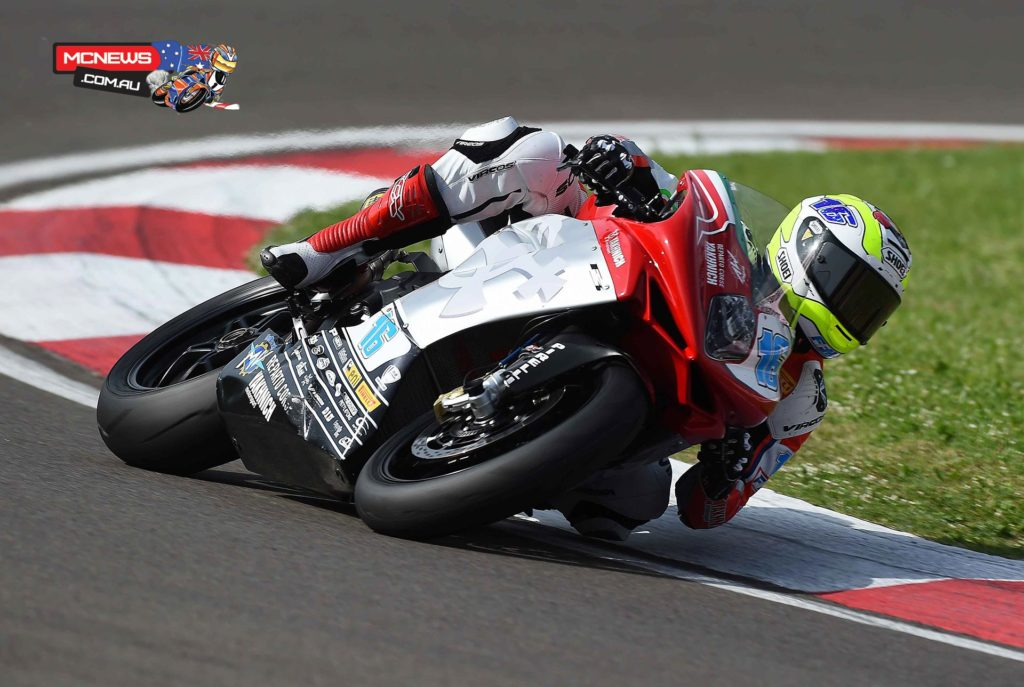 Jules Cluzel (MV Agusta RC – Yakhnich Motorsport) snatched Pole Position for the fourth round of the World Supersport championship at Imola in 2014, under sweltering conditions with a final lap surge to displace multiple champion Kenan Sofuoglu (Maha Team India Kawasaki).