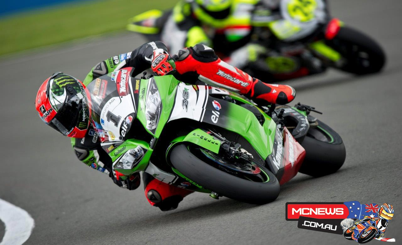 "Tom Sykes: ""Yes, maybe race one was the best race of my career. Winning the world title will always be the most emotional one but in terms of performance today maybe the top of the list now. We had a problem on the first laps of race one and Loris came quite aggressively in turn one. I am not complaining but this took away my natural line and I got put onto the marbles. I lost some positions and in the first half a lap, on full lean angle the bike was cutting the power. I almost came into the pits but the Ninja cleared itself and after that the bike was working very well. I was in tenth or 11th position early on and I was very motivated to move back to the where I feel we should be at the front. It was difficult to pass because a lot of guys were using their fresh Pirelli tyres to their full advantage and after six laps I really started to make a plan of attack to win. In race two I had a good start but I knew Loris would have a good pace and Sylvain Guintoli always goes well round Donington. Sylvain led for half the race but I just kept pushing and took the lead and then the win. It is great to take another double after Aragon and also take the championship lead again. The summer weather really arrived back at Donington for my home round today."""