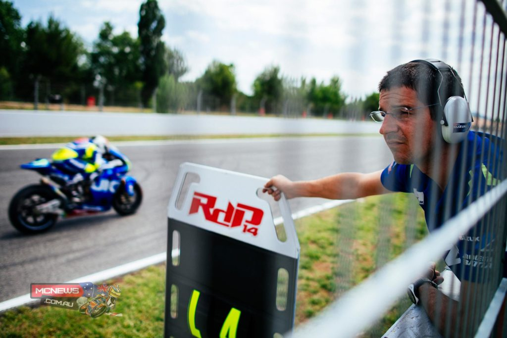 """With weather conditions fluctuating over the three-days, but averaging 25° Air/ 35° Track temperatures, De Puniet put-in his fastest lap on the opening day with a time of 1'43""""683. Over the three days, he completed 200 laps of the 4.655 km, 16-corner circuit. Tsuda, who was supporting De Puniet and adding to the Suzuki MotoGP data-logging and evaluation of the new parts and settings at the event, completed a total of 103 laps."""
