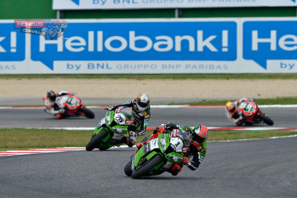 """Tom Sykes: """"I am very pleasantly surprised at these results but I knew that the adrenaline and the concentration would give me something extra. It all went to plan in race one. I knew I had some limitation all weekend and I said that to my crew chief, and what the issues were. After that you need to get on and do the job. The lap times were quite surprising at the start and my pace too. The front and rear were moving a lot but the feedback from the bike was fantastic, so I have to thank Marcel and Danilo and all the mechanics for that. In race two it was even more difficult, I had to stay focused but at the end the control of the second race was probably a bit more relaxed than in race one."""""""