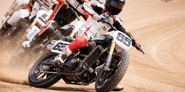 """A Harley-Davidson Street™ 750 prototype race motorcycle - ridden by AMA Pro Flat Track Grand National Champion, Brad """"the Bullet"""" Baker - sends dirt flying during an exhibition Flat Track race leading into X Games Austin and just weeks before the new bike hits U.S. dealerships"""