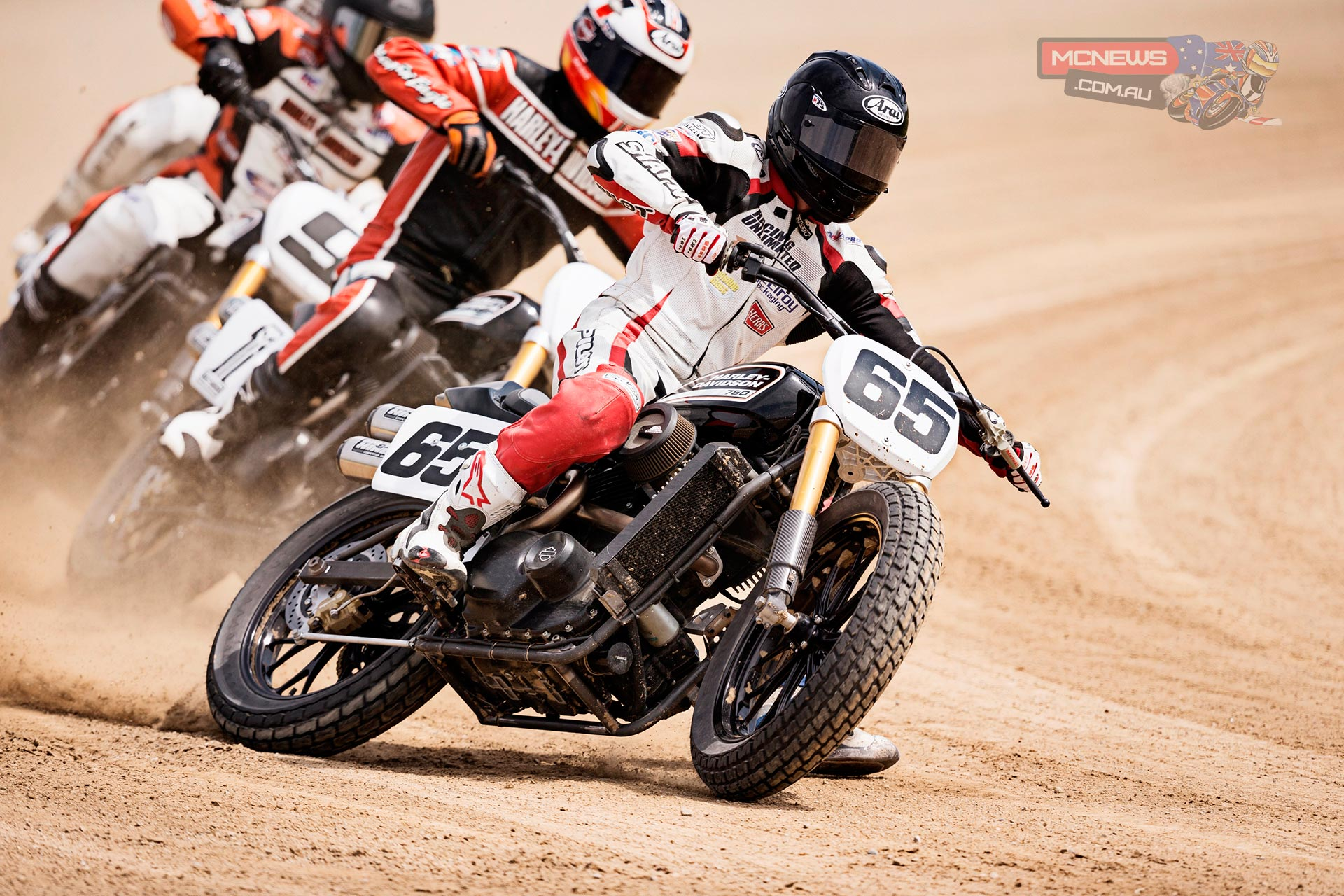 "A Harley-Davidson Street™ 750 prototype race motorcycle - ridden by AMA Pro Flat Track Grand National Champion, Brad ""the Bullet"" Baker - sends dirt flying during an exhibition Flat Track race leading into X Games Austin and just weeks before the new bike hits U.S. dealerships"