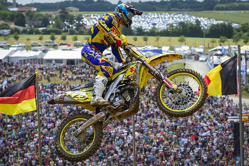 A racer should always push until the checkered flag and today Rockstar Energy Suzuki World's Clement Desalle proved exactly why. After putting himself in a good position in both races, second place behind Cairoli, Desalle wound up the beneficiary of the champ's errors in not one, but two races allowing him to take two race wins for his second perfect score of the year.