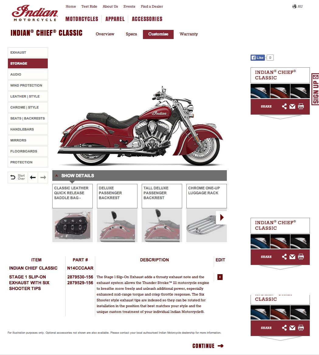 Visit indianmotorcycle.com.au to customise your Indian Chief motorcycle.