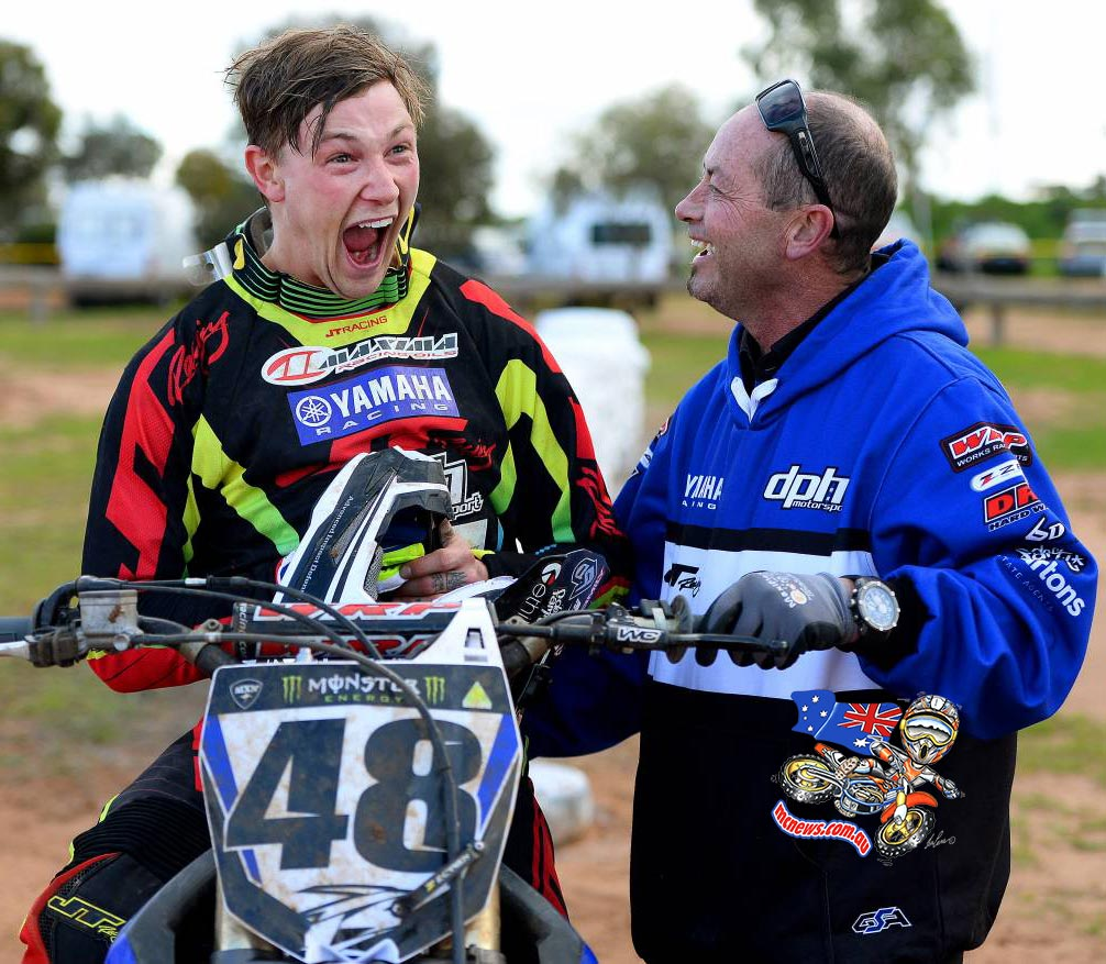 Reckon Kade Mosig was pretty happy about his Swan Hill win...?  Too bloody right!