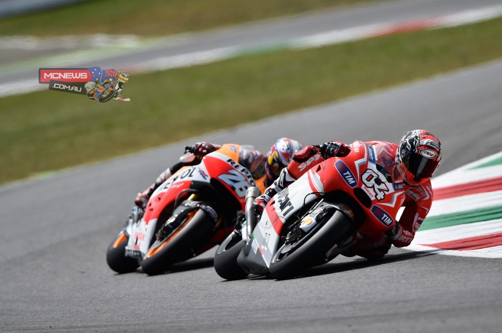 """Andrea Dovizioso (Ducati Team #04) – 6th - """"I think I did as much as I could today in the race. In the end we didn't go that bad, considering the gap from the leaders: we managed to improve our race time by three and a half seconds over last year's, and this is a positive fact. The race at Mugello, as always, was really tough but that's what makes it great. It was a really tough battle with Pedrosa, Espargarò and Iannone. I was helped a lot by the horsepower we had on the straight, and I did some great braking moves at the San Donato curve. In the end we brought home the best result that we could have obtained today."""""""