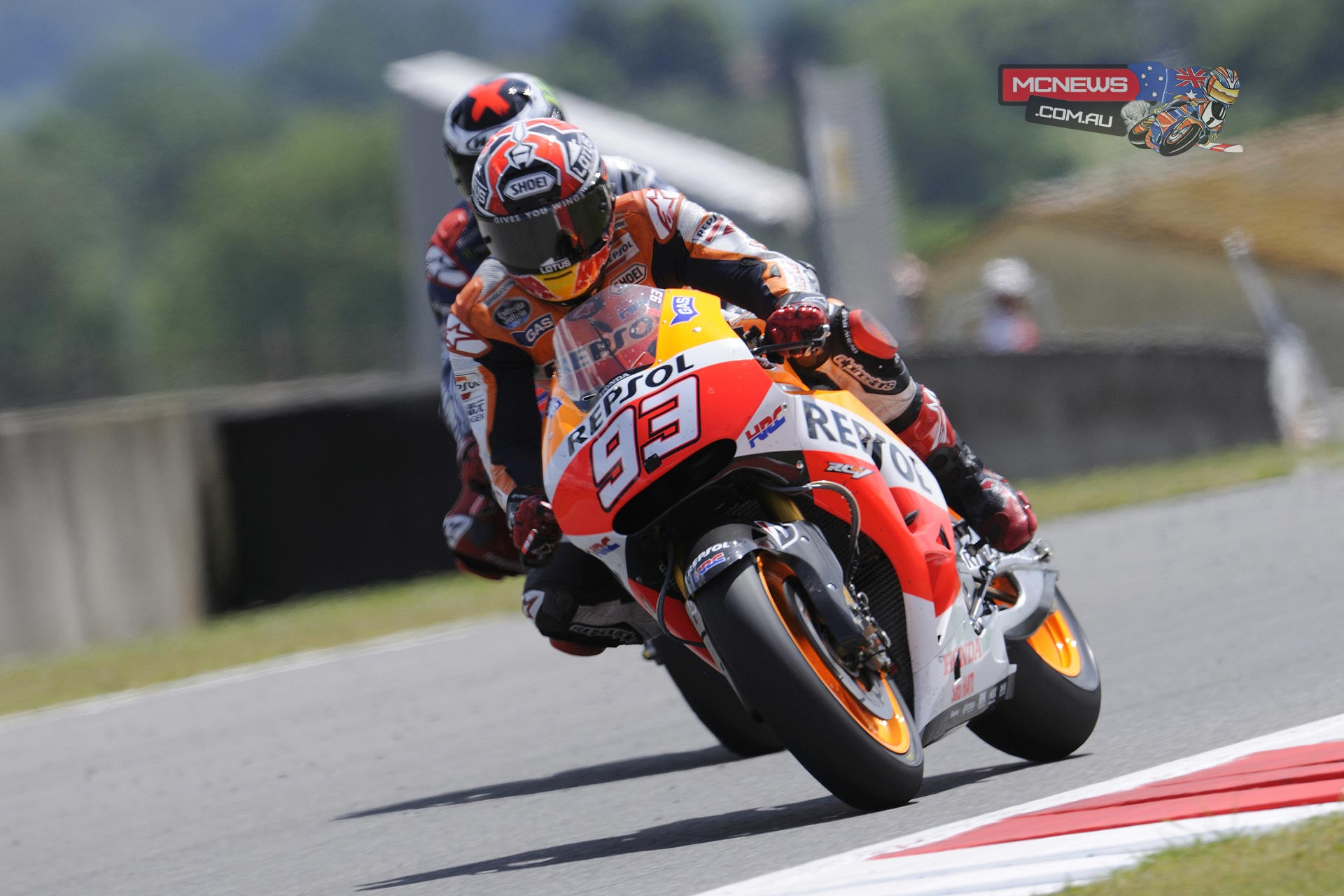 "Marc Marquez, Repsol Honda: 1st - ""I am very happy with this win; Jorge and I had a really good battle and had a lot of fun out there! I wasn't expecting the victory, because it has come at a circuit that I had marked on the calendar as being one for picking up championship points – not thinking about winning the race. However, I saw that it would be possible and took more risks than at other races, because Jorge and Vale were very fast and we were finding it difficult to keep up the same pace. I think that we did a great job all weekend, and the change that we made to sixth gear in the warm-up was very important too; we did this to help pass using a slipstream at the end of the straight. I am very pleased with how the entire weekend went, and now it is time to look ahead to my home Grand Prix – racing at Montmelo is always special."""