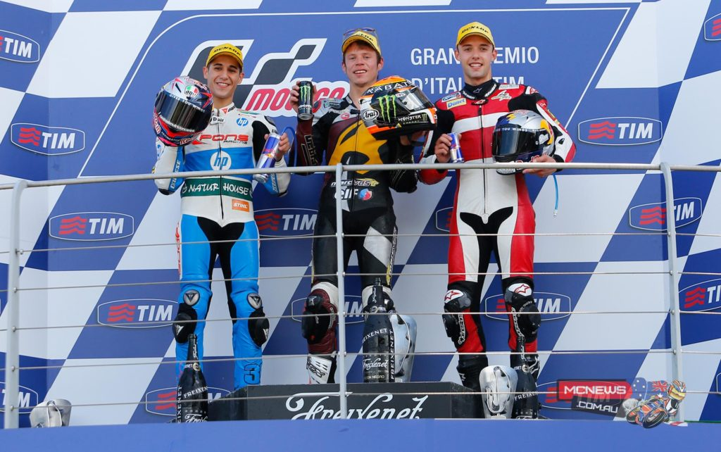 Tito Rabat (Marc VDS Racing Team) got his tactics just right at Mugello, winning the Gran Premio d'Italia TIM Moto2™ race by 0.248s from Luis Salom (Pons HP 40), with Jonas Folger(AGR Team) crossing the line third.