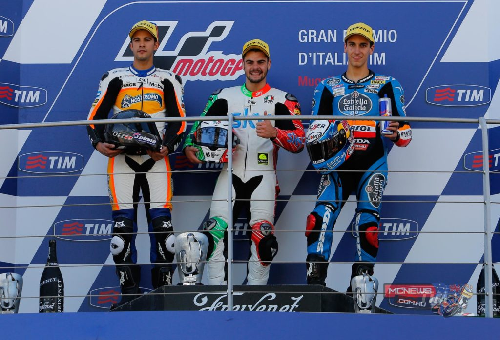 in 2014 at Mugello a fantastic Moto3 race concluded with victory for Romano Fenati (SKY Racing Team VR46) at the Gran Premio d'Italia TIM, with Isaac Viñales (Calvo Team) and Alex Rins (Estrella Galicia 0,0) joining him on the podium. The 2014 race saw the top three covered by just 0.011 seconds, making it the closest grand prix podium finish of all time.