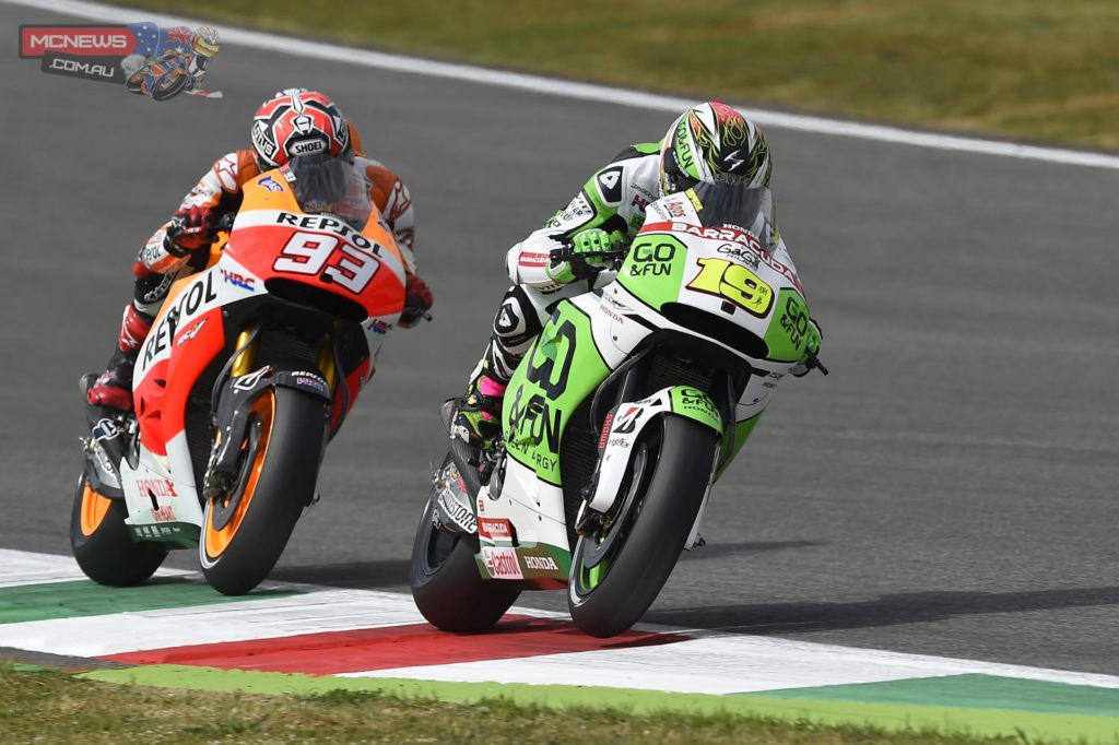 "Alvaro Bautista, GO&FUN Honda Gresini: 11th, 1m 48.132s - ""I crashed in FP4 as I lost the front under braking at turn 4; as a result I had only the other bike available to do both Q1 and Q2, so I needed to avoid other mistakes. For sure it's been definitely not an easy day for us: after yesterday's crash we had some problems, therefore this morning we made a big change in the bike set-up, but unfortunately it didn't work. This afternoon we returned to yesterday's setting, but today my pace was not so good, I need more confidence on the front end, because we are struggling a lot with the hard front tyre and, on the other hand, we lose some stability with the softer one. We will work hard tomorrow morning during the warm-up to try and find a solution, because the goal is to use the front hard tyre."""