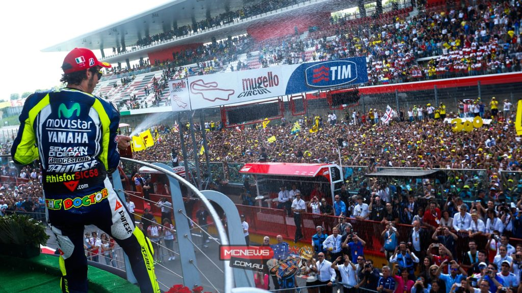 Valentino Rossi sprays the elated Mugello crowd