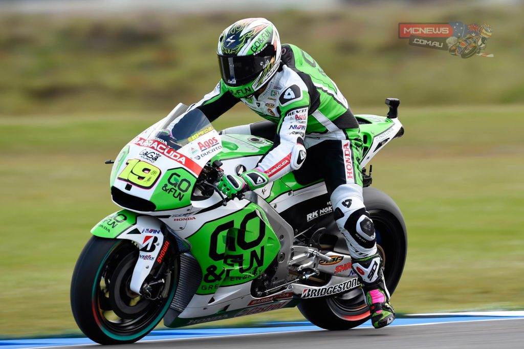 """Alvaro Bautista, GO&FUN Honda Gresini: 10th, 1m 42.884s - """"Today has been strange: yesterday during practice we could have set a lap time to jump right into Q2, but it was not possible because of the traffic. Then this morning it rained! During FP4 we also tried two different set-ups looking for more traction, but with no improvement. In Q1 I was able to be fast even if I didn't use new tyres. Then right at the beginning of the Q2 it started to rain and it was very risky. It was the same for everyone, but on the first lap I preferred not to push too hard because if I fell and the track had dried out, I'd be in an even worse situation. Tomorrow first of all we will keep an eye on weather. Overall I'm happy with my feeling on the bike in the dry."""""""