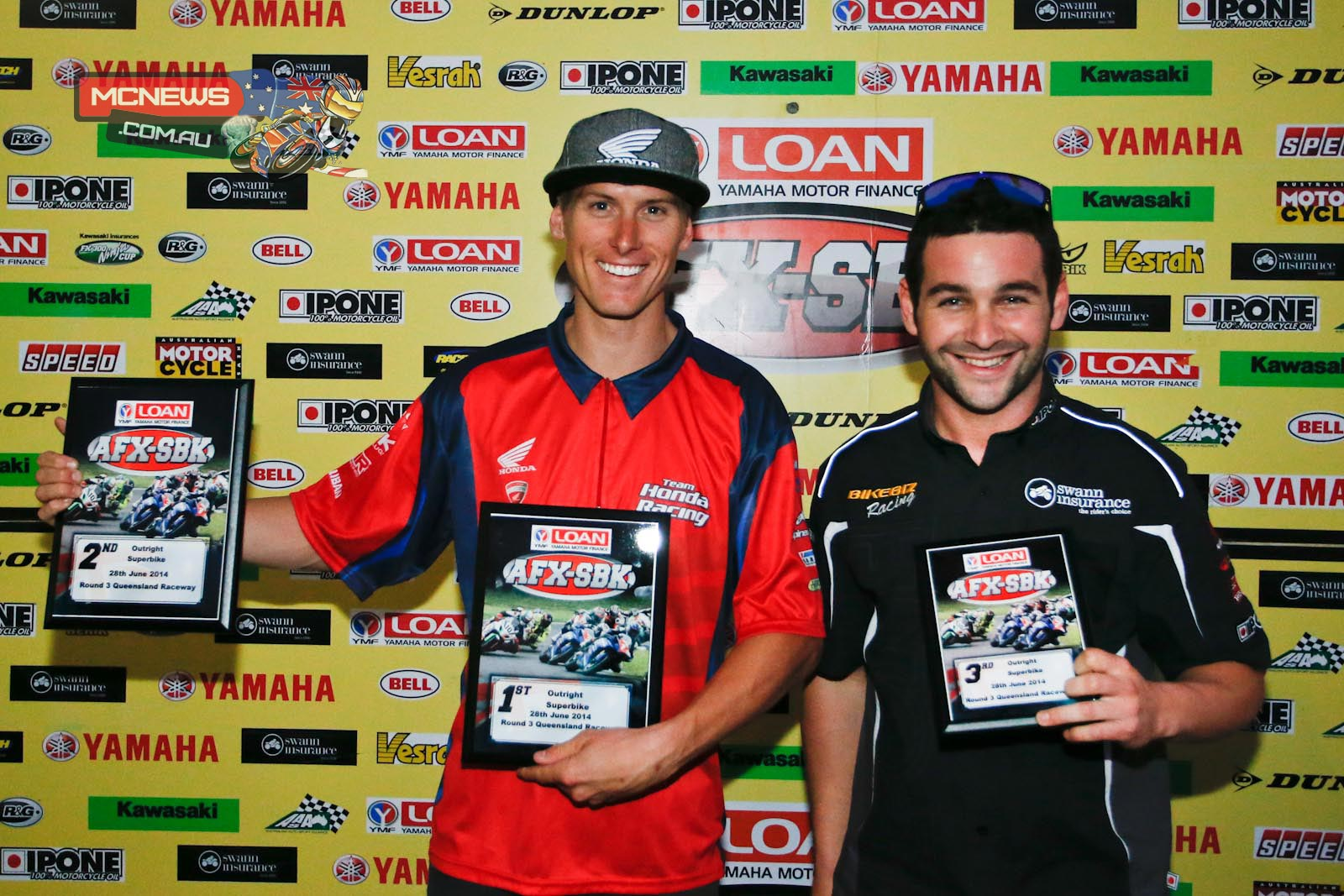 Troy Herfoss and Sean Condon all smiles at Queensland Raceway