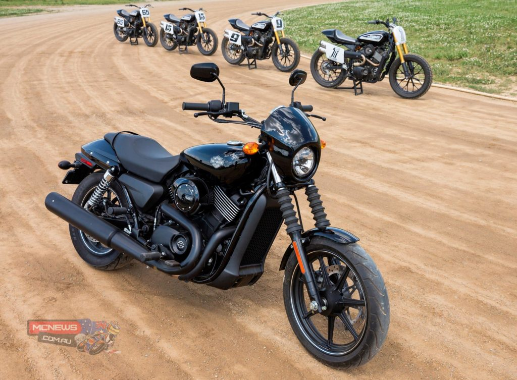The new Harley-Davidson Street™ 750 motorcycle (forefront) makes its X Games Austin debut just weeks before the bike begins to arrive for sale at U.S. dealerships. A prototype race version of Street™ 750 was the star in an action-packed exhibition Flat Track race leading up to X Games Austin