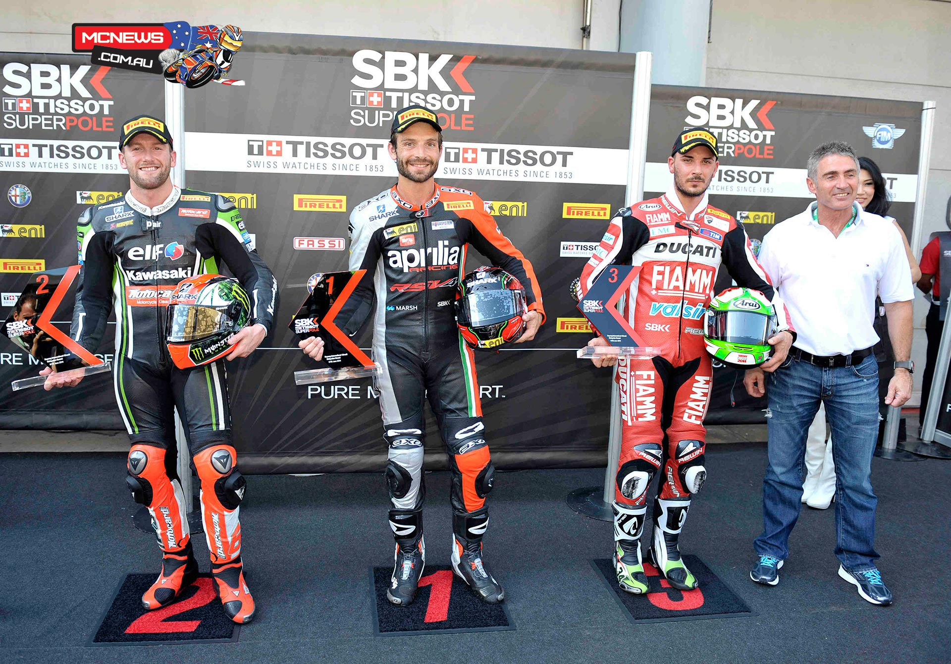 With high track and air temperatures the first ever Tissot-Superpole at the Sepang International Circuit has been won by Sylvain Guintoli (Aprilia Racing Team), who will start from pole position for the fourth time in his WSBK career.