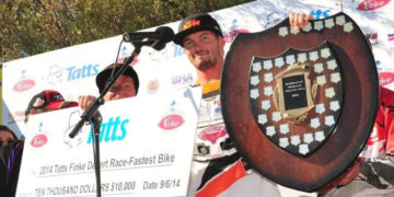 At its first official outing the KTM Desert Racing Team has scooped the biggest off road racing event on the Australian calendar, with Toby Price winning his third Finke crown at the 39th running of the Tatts Finke Desert Race in Alice Springs.