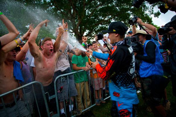 Webb celebrates with the hometown crowd at Muddy Creek. (Photo: Matt Rice)