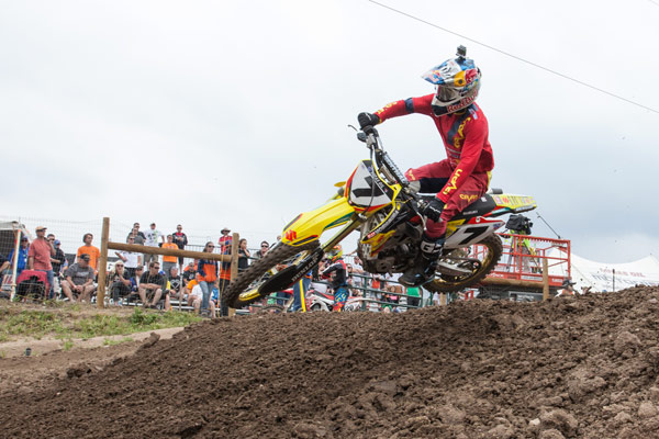 Stewart became the fourth rider to win a moto in the 450 Class this season. (Photo: George Crosland)