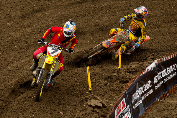 The competition in the 450 Class was the best of the season, with Stewart (7) and Dungey (5) rounding out the overall podium. (Photo: Chris Ortiz)