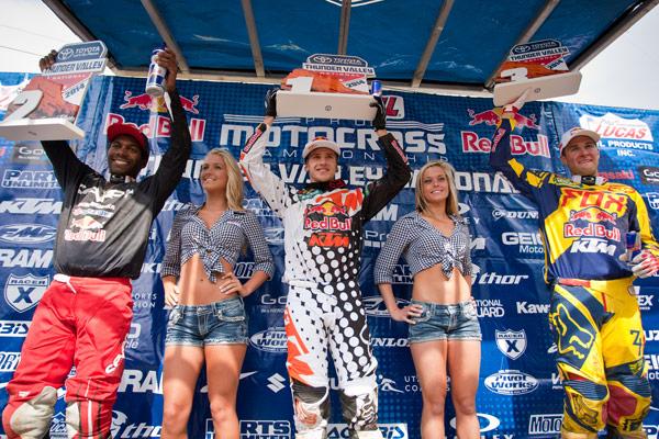 450 Class podium: Stewart (2nd), Roczen (1st), Dungey (3rd). (Photo: Matt Rice)